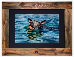 "Framed original watercolor painting ""Water Dog"" by Lisa Lopuck"
